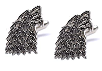 Game Of Thrones Dire Wolf House Stark Sigil Pair Of Wolf Cufflinks Westeros GOT Shirt Accessories