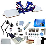 INTBUYING 4 Color 2 Station Screen Printing Kit Press T-Shirt Printing Kit Silk Screen Printing Bundle Machine