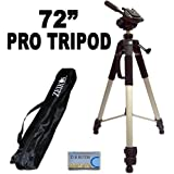 "Professional PRO 72"" Super Strong Tripod With Deluxe Soft Tripod Carrying Case For The Canon VIXIA HF R42, HF R40, HF R400 Digital Camcroder"