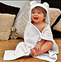 Luxury Soft Organic Bamboo Baby Hooded Towel & Washcloth Gift Set, White Bear, Large Thick Infant & Toddler Sized by Teenie Greenie Baby