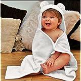 Luxury Soft Organic Bamboo Baby Hooded Towel & Washcloth Gift Set, White Bear, Large Thick Infant & Toddler Sized