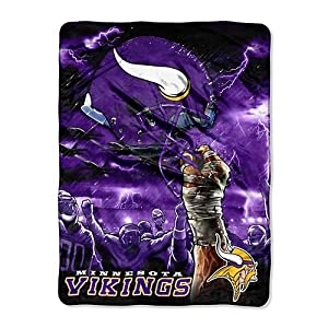 Northwest Minnesota Vikings 60x80 Royal Plush Raschel Aggression Design Blanket
