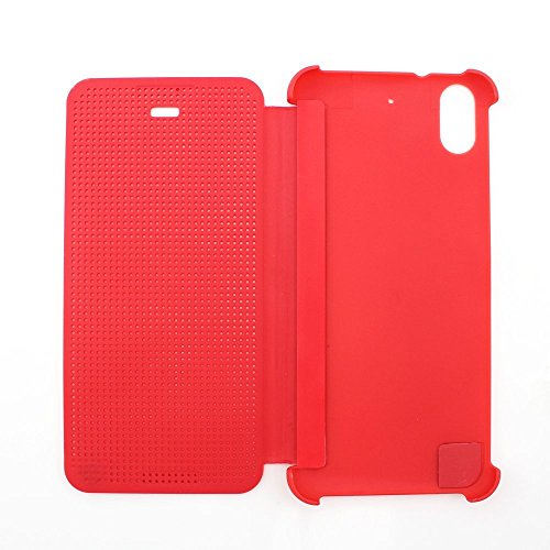 Defender Premium Best DOT VIEW Bumper Touch Flip Case Cover with Sensor for HTC Desire 626G Plus (626G+) - RED