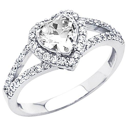 .925 Sterling Silver Heart-cut CZ Cubic Ziconia Solitaire with side-stone Ladies Wedding Engagement Ring Band (Size 5 to 9) - Size 7
