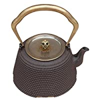 Japanese Southern Tetsubin Cast Iron Nail Armor Teapot Copper Lid Matte Black 1.4L