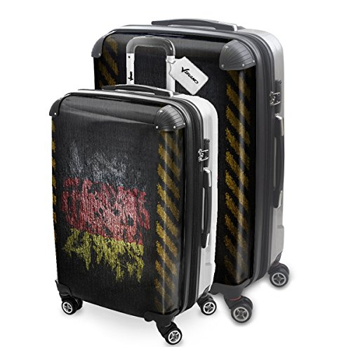 Drapeau Graffiti Allemagne, 2 pièce Set Luggage Bagage Trolley de Voyage Rigide 360 degree 4 Roues Valise avec Echangeable Design Coloré. Grandeur: M, L