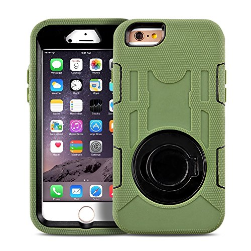 TNP iPhone 6s Case (Army Green) - Heavy Duty Rugged Hybrid Rubber Shockproof 4 Layers Combo Kickstand Cover Hard Case for Apple iPhone 6 and iPhone 6S 4.7