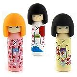 Iwako japoneses Borradores - Corazón Rojo, Amarillo, Monte Fuji Kokeshi Dolls (3 piezas)