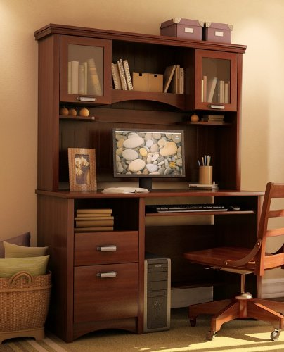 Buy Low Price Comfortable Home Office Computer Desk with Hutch in Sumptuous Cherry Finish (B003LCEMWQ)