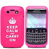 JJOnline Hot Pink White BlackBerry Bold 9790 Silicone Gel Rubber Keep Calm and Carry On Mobile Phone Case Covers / Ultra Clear Screen Film Protector and Polishing Cloth