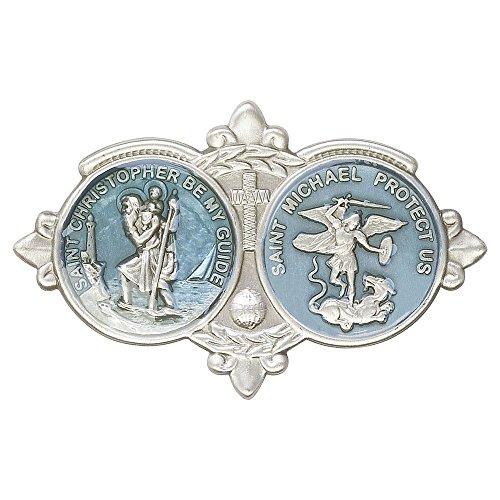 Antique Silver St Christopher & St Michael the Archangel Visor Clip. Patron Saint of Police Officers & Emt's & Protection (Jesus Clip compare prices)