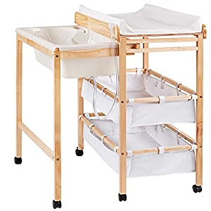 TecTake Baby toddler changing table station with integrated bath tub unit storage boxes pad wood by TecTake