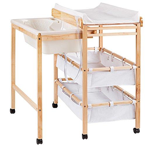 tectake mobile wickelkommode aus holz in wei mit ausziehbarer badewanne wickeltischauflage und. Black Bedroom Furniture Sets. Home Design Ideas