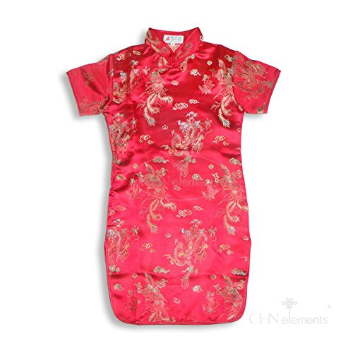 CHN Elements.clothing.kids - Abito - Stampa animalier - Maniche corte  - ragazza Rosso red w/dragon & phoenix pattern