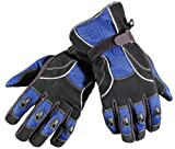 REFLECTIVE LEATHER MESH MOTORCYCLE BIKE GLOVES BLUE M