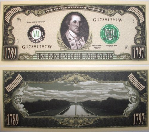 george washington dollar bill art. 100 dollar bill back and front