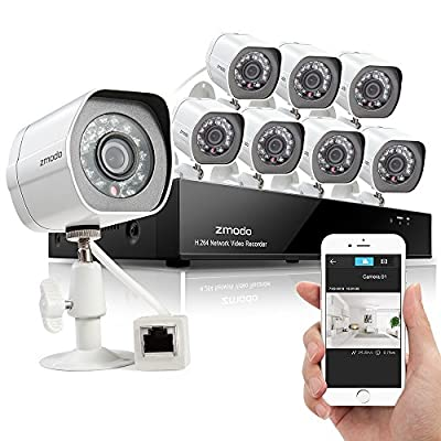 Zmodo 8 Channel 720p HD Simplified PoE NVR P2P High DefinitionOutdoor Indoor Built-in IR-CUT Video Surveillance Home Video Stable Security Camera System w/ 1TB Hard Drive QR Code Scan t Remote View in Seconds Smart Recording