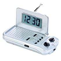 Natico Radio, Mini, Am and Fm Alarm  Clock, Silver (80-R018)