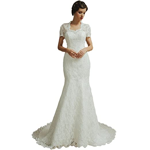 DressV Women's Short Sleeve Backless Mermaid Wedding Dress