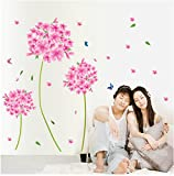 Oren Empower Pink Atristic Flower Plant PVC Vinyl Medium Wall Sticker