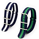 2PC 20mm Nato Ss Nylon Striped Navy Blue / White,Blue/Green Interchangeable Replacement Watch Strap Band