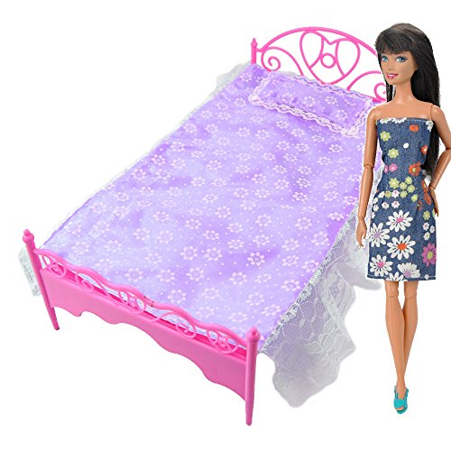 g stig online shoppen e ting lila mini bett mit kissen f r barbies puppen puppenhaus. Black Bedroom Furniture Sets. Home Design Ideas