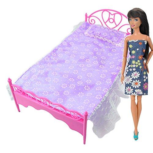 E-TING Lila Mini Bett mit Kissen für Barbies