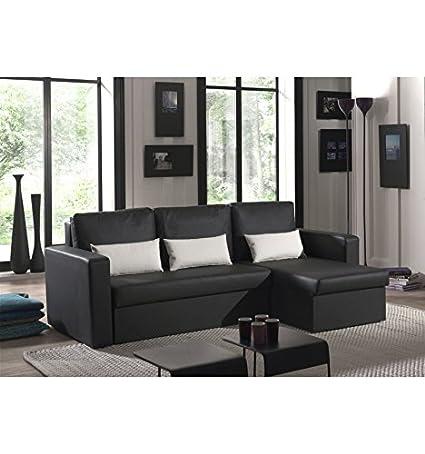 Canapé angle imitation cuir noir Romeo