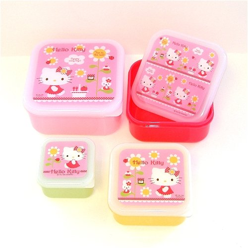 Hello Kitty nesting storage box (volume: 530ml, 360ml, 230ml, and 100ml)