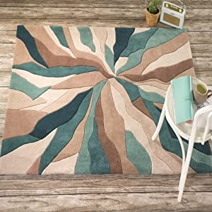 Flair Rugs Infinite Splinter Handtufted Rug, Teal, 160 x 220 Cm by Flair Rugs
