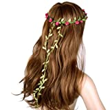 New Boho Ladies Rose Red Floral Flower Festival Wedding Garland Forehead Hair Head Band (Rose red_FJAC006)