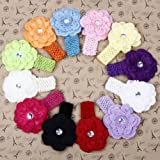 2013newestseller Baby Girls 12 Color Peony Flowers Headbands Hair Flower (12 Pack)