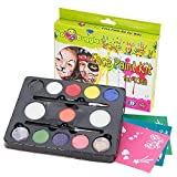 Face Paint Kit For Kids By Bo Buggles Professional: 30 Stencils, 11 Colors, Large 4g Paints, 2 Glitters, 2 Brushes, 2 Sponges. Pro-Quality Face Painting Party Set. Safe NonToxic Palette + Bonus Ebook!