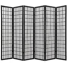 Coaster Oriental Style 4-Panel Room Screen Divider, Black Framed (Black, 6 Panel)