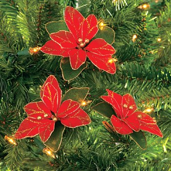 #!Cheap Lot of 12 Red Glitter Poinsettia Christmas Tree Ornaments