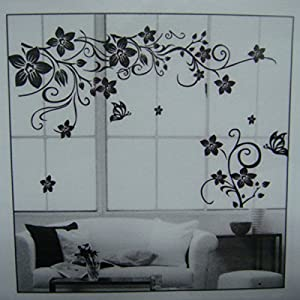 1pcs Black Vine Wall Stickers Butterfly Wall Dcorazione Removable DIY House Hotel Restaurant Kitchen Bedroom