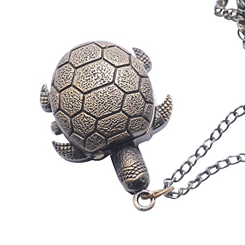 81stgeneration-Womens-Brass-Vintage-Style-Tortoise-Pocket-Watch-Chain-Pendant-Necklace-78-cm