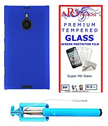 AryaMobi Hard Back Case Cover for Nokia Lumia 1520 - Blue,Tempered Glass, Selfie Stick Aux Port