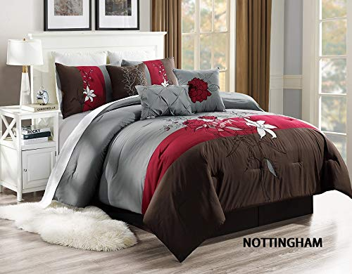 Unique Home 7 Pieces Bedding Comforter Set Solemn Medallions on Plain White, with Colorful Decorative Pillows with Pillow Sham Cushion Bed Skirt Calking
