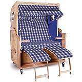 Strandkorb Kampen Spezial 2-Sitzer Blau Beige karriert Seiten Blau mit Bullauge