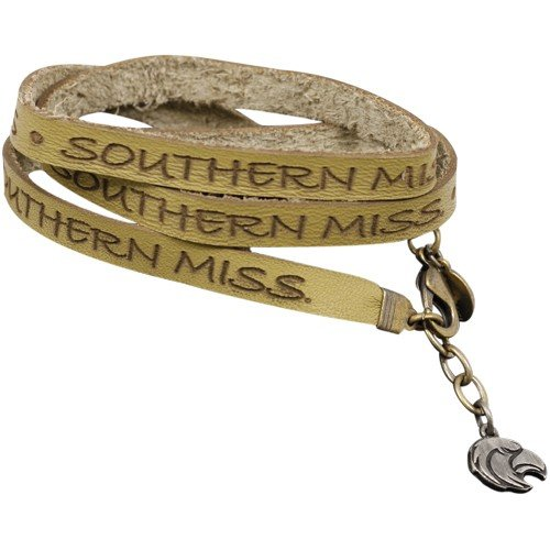 NCAA Southern Miss Golden Eagles Ladies Gold Wrap-Around Leather Strap Bracelet