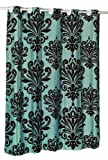 "Carnation Home Fashions EZ-ON ""Beacon Hill"" Polyester Shower Curtain, Chocolate on Spa Blue"