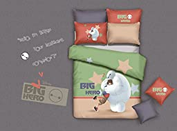 CASA Children 100% cotton series Baymax duvet cover & pillow cases & Fitted Sheet,4 Pieces,Queen