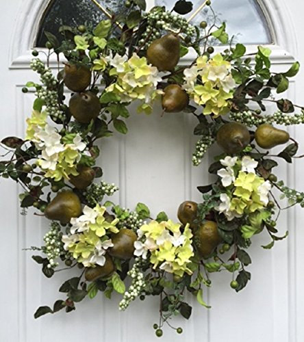 Sir Bartlett Silk Door Wreath 22 Inches Handmade With Artificial Green Pears And Silk Hydrangeas Display Outdoors On A Front Door Spring Summer Or Fall
