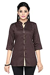 Leafit Women's Shirt (Lf2802498_Brown Pink_X-Large)