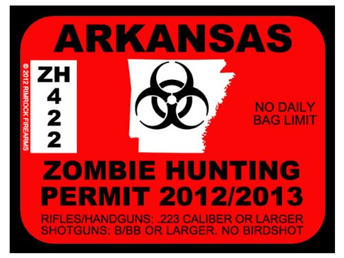 Arkansas Zombie Hunting Permit 2012 (Bumper Sticker)