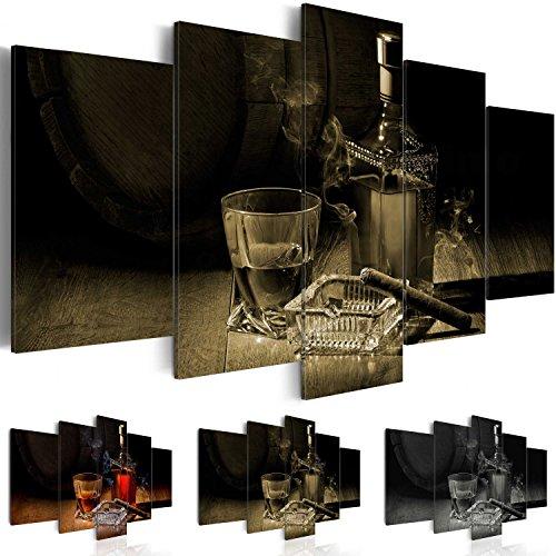 Quadro 200x100 cm ! Tre colori da scegliere - 5 Parti - Grande formato - Quadro su tela fliselina - Stampa in qualita fotografica -- Sigaro Whisky j-A-0058-b-o 200x100 cm B&D XXL