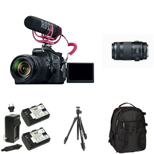 Canon EOS 70D Video Creator Kit with 18-135mm and 70-300mm Lenses, Rode VIDEOMIC GO and Sandisk 32GB SD Card Class 10 + Bag, Battery and Tripod