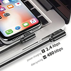 Right Angle iPhone Charger Cable 3 Pack(3/6/10FT) 90 Degree Data Cable Nylon Braided for iPhone X/Max/8/8Plus (Black,3/6/10FT)