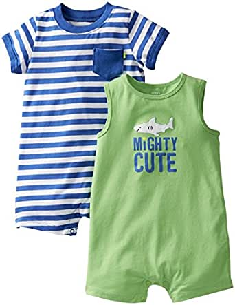 Carter's Baby Boys' 2 Pack Pocket Rompers (Baby) - Mighty Cute - Green/Blue - NB